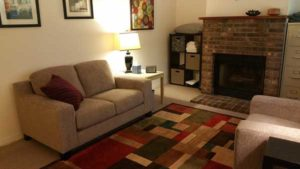 psychotherapist office with couch fireplace